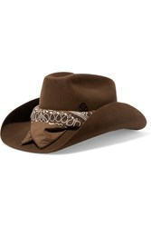 Maison Michel Lucky Printed Cotton Trimmed Rabbit Felt Fedora Chocolate