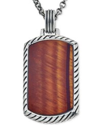 Esquire Men's Jewelry Red Tiger Eye 36 X 20Mm Dog Tag Pendant Necklace In Sterling Silver First At Macy's