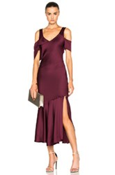 Prabal Gurung Hammered Satin Draped Shoulder Dress In Purple