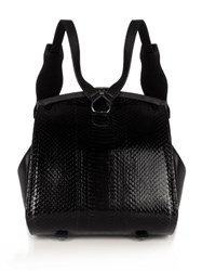 F.E.V. Wild Snakeskin And Leather Backpack Black