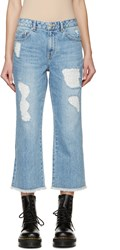 Sjyp Blue Destroyed Cut Off Jeans