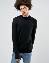 Asos Turtle Neck Jumper In Black Merino Wool Black
