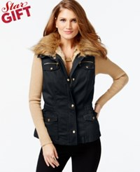 Inc International Concepts Convertible Faux Fur Anorak Vest Only At Macy's Deep Black
