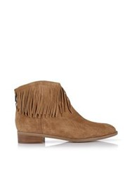 Karen Millen Flat Fringed Ankle Boot Tan
