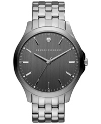 Ax Armani Exchange Men's Diamond Accent Gunmetal Ion Plated Stainless Steel Bracelet Watch 46Mm Ax2169