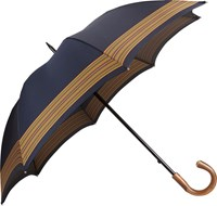 Barneys New York Striped Umbrella Blue