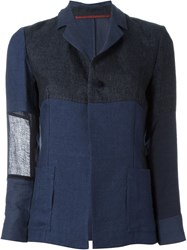 Daniela Gregis Tonal Patchwork Lightweight Single Breasted Blazer Blue