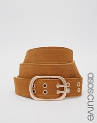 Asos Curve Eyelet Double Prong Suede Jeans Belt Tan