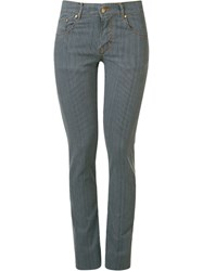 Amapo Striped Skinny Trousers Blue