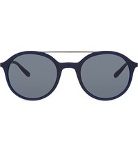 Giorgio Armani Ar8077 Metal Top Bar Round Frame Sunglasses Blue