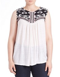Lucky Brand Plus Embroidered Sleeveless Top White