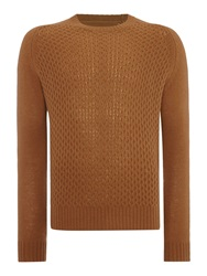 Peter Werth Dykan Pattern Crew Neck Pull Over Jumpers Camel