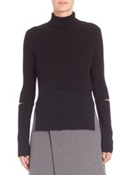 Proenza Schouler Patchwork Wool And Cashmere Turtleneck Sweater Black
