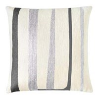 Judy Ross Textiles Stripe Cream Fog Rayon Black Pillow
