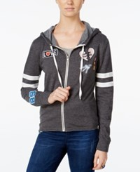 Miss Chievous Juniors' Zip Up Hoodie With Patches Flannel Grey Bright White