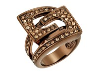 Guess Buckle Ring Chocolate Peach Crystal Ring Gold