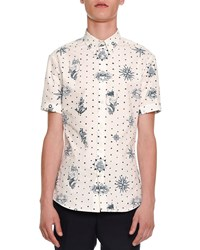 Alexander Mcqueen Tattoo Print Short Sleeve Shirt White Navy