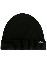 Stone Island Ribbed Knitted Beanie Black