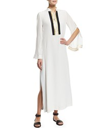 Zeus Dione Long Sleeve Silk Maxi Caftan Dress Ivory Size 44