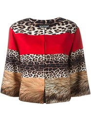 Boutique Moschino Animal Graphic Cropped Jacket Multicolour