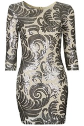 Paris Flower Print Bodycon Dress By Tfnc Silver