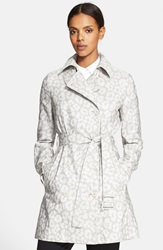 Stella Mccartney Snow Leopard Print Trench Coat Light Grey
