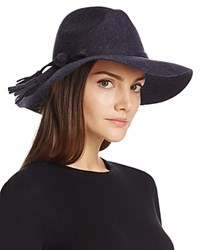 Bettina Wide Brim Wool Fedora Navy
