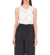 3.1 Phillip Lim Cropped Woven Top Antwht Black