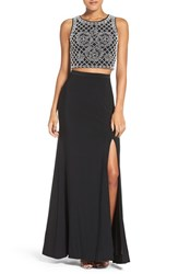 Xscape Evenings Women's Beaded Crop Top Two Piece Gown