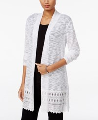 Jm Collection Lace Trim Duster Cardigan Only At Macy's Bright White