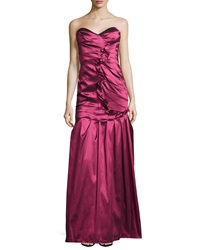 Kay Unger New York Taffeta Strapless Ruffle Gown Ruby