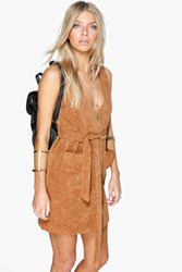 Boohoo Button Front Cord Dress Tan