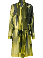 Ann Demeulemeester Sheer Double Breasted Coat Yellow And Orange