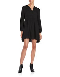 Bb Dakota Ruched Hi Lo Long Sleeve Babydoll Tunic Black