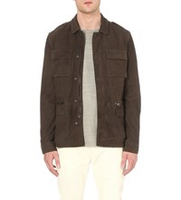 Allsaints Rampart Suede Jacket Anthracite Gre