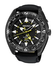 Seiko Prospex Stainless Steel And Leather Watch Black