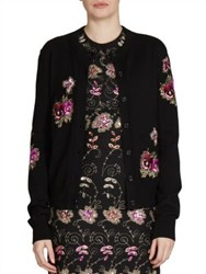 Givenchy Embroidered Crewneck Cardigan Black