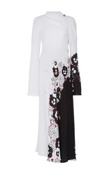 Prabal Gurung Long Sleeve Draped Neck Dress White Black Red