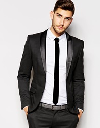 Selected Homme Tuxedo Jacket In Woven Jacquard In Skinny Fit Charcoal