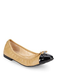 Ivanka Trump Leather And Patent Ballet Flats Natural