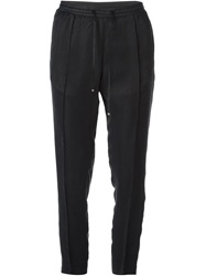 Moncler Tapered Crepe Trousers Black