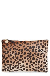 Clare V. Genuine Calf Hair Leopard Print Zip Clutch