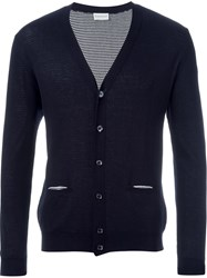 Moncler V Neck Cardigan Blue