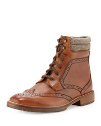 Ben Sherman Albert Leather Wing Tip Boot Cognac