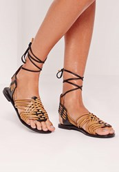 Missguided Real Leather Woven Slingback Sandals Black Tan Black