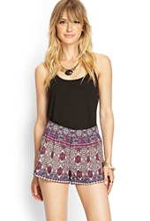 Forever 21 Pleated Tribal Print Shorts Tan Wine