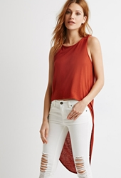 Forever 21 Curved Hem Longline Tank Rust