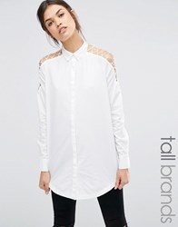 Noisy May Tall Longline Shirt With Cut Out Lace Up Detail White