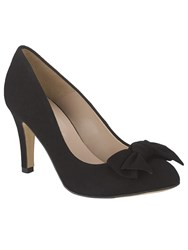 Phase Eight Amber Suede Bow Court Shoes Black