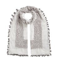 East Hand Embroidered Pom Pom Scarf Stone